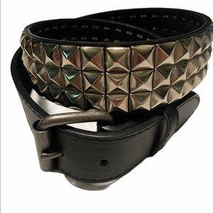 3 Row Black Leather Studded Belt